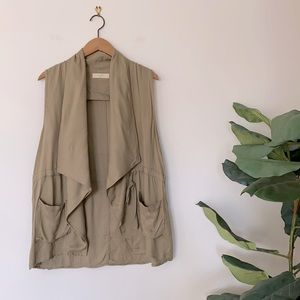 Anthropologie Elodie Green Trench Vest Size L